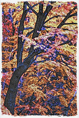 Digital Art - Moku Hanga Autumn by Cameron Wood