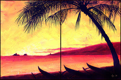 Outrigger Painting - Mokulua Sundown by Angela Treat Lyon