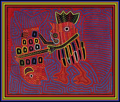 Digital Art - Mola Rooster Scaling Fish by Vagabond Folk Art - Virginia Vivier