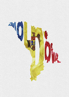 Digital Art - Moldova Typographic Map Flag by Inspirowl Design
