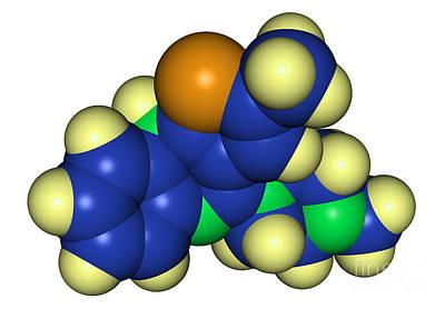 Bipolar Photograph - Molecular Model Of Olanzapine by Scimat