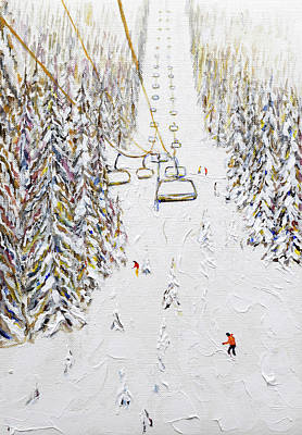 Painting - Small Painting Of Molliets Chairlift Grand Massif. Do Not Enlarge Too Big by Pete Caswell