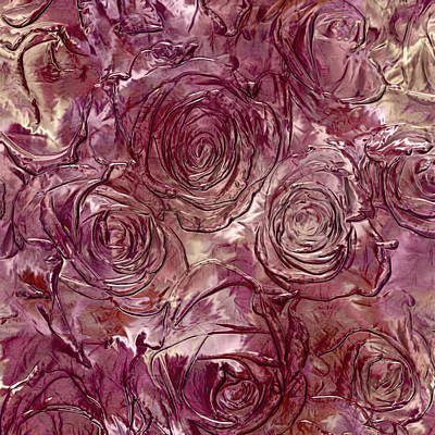 Glass Wall Digital Art - Molten Roses Abstract Realism by Georgiana Romanovna