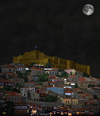Mixed Media - Molyvos By Night Lesvos Greece by Eric Kempson