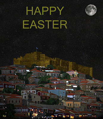Mixed Media - Molyvos By Night  Lesvos Greece  Happy Easter by Eric Kempson