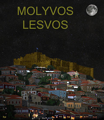 Mixed Media - Molyvos By Night  Molyvos Lesvos Greece   by Eric Kempson