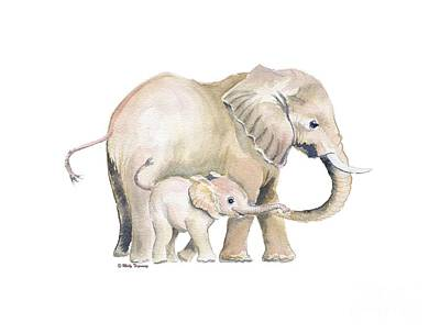 Painting - Mom And Baby Elephant 2 by Melly Terpening