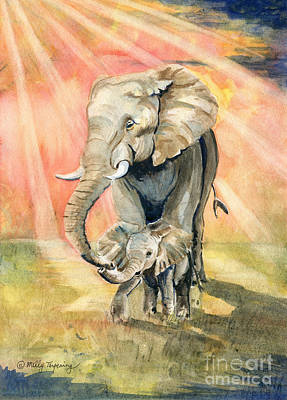 Painting - Mom And Baby Elephant by Melly Terpening