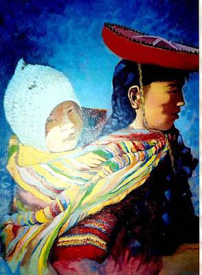Painting - Mom And Child  by Victor Cuya