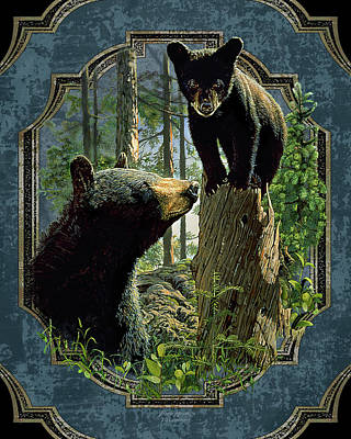Woods Painting - Mom And Cub Bear by JQ Licensing