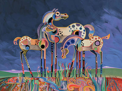 Painting - Mom And Foals by Bob Coonts