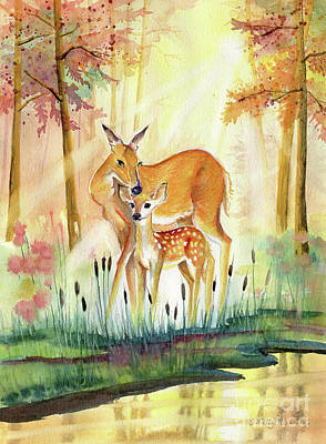 Painting - Mom And Little Deer by Melly Terpening