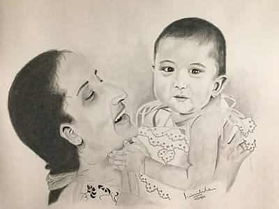 Dallas Drawing - Mom, Child by Scientila Duddempudi