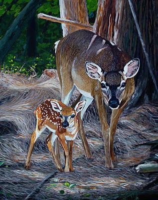 Painting - Mom Deer by Manuel Lopez