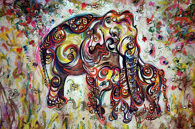 Painting - Mom Elephant - Love - Harsh Malik by Harsh Malik