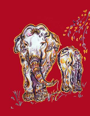 Painting - Mom Elephant - Ornate  by Harsh Malik