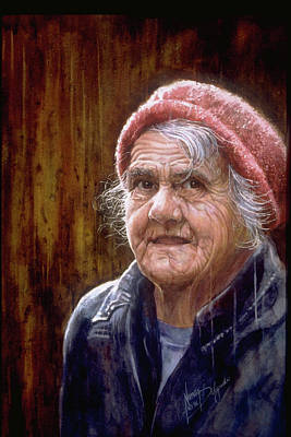 Wall Art - Painting - Mom In The Rain by Nancy Delgado