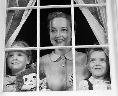 Rag Doll Photograph - Mom With Two Kids Looking Out Window by H. Armstrong Roberts/ClassicStock