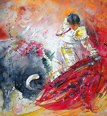 Torero Wall Art - Painting - Moment Of Truth 2010 by Miki De Goodaboom