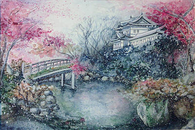 Cold Lake Drawing - Momiji / Season Of Red Maple Leaves by Rera Kryzhnaya