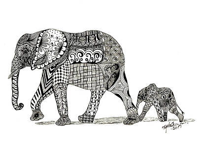 Drawing - Momma And Baby Elephant by Kathy Sheeran