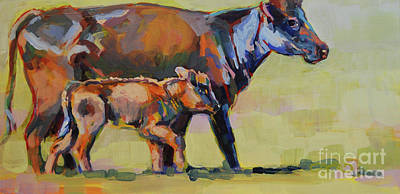 Bovine Animals Painting - Momma And Me by Kimberly Santini
