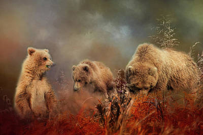 Photograph - Momma Bear And Her Cubs by Phyllis Taylor