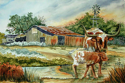 Momma Longhorn And Calf Art Print by Ron Stephens