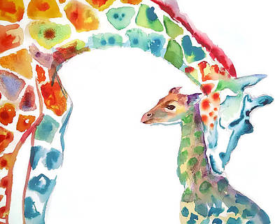 Giraffe Painting - Mommy And Baby Giraffe by Emma Kaufmann