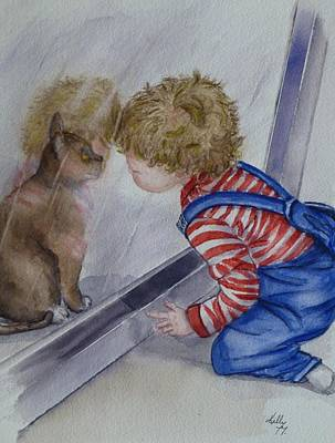Painting - Mommy Kitty Wants To Come In... by Kelly Mills