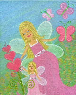 Fairy Hearts Pink Flower Painting - Mommy 'n Me by Samantha Shirley