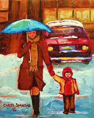 Montreal Winterscenes Painting - Moms Blue Umbrella by Carole Spandau