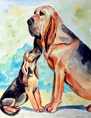 Watercolor Pet Portraits Painting - Mom's Day - Bloodhound by Lyn Cook