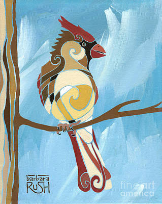 Painting - Moms Day Off Female Cardinal Painting by Barbara Rush