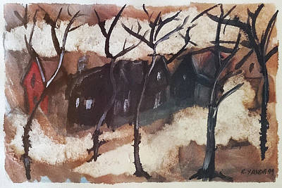 Drawing - Mom's Little Red House by Katt Yanda