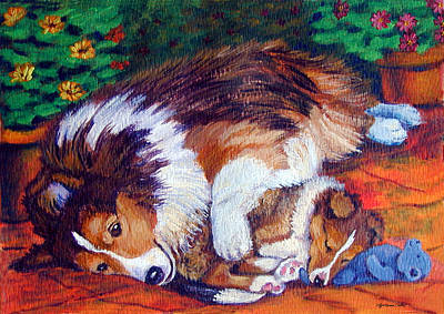 Herding Dog Painting - Mom's Love - Shetland Sheepdog by Lyn Cook