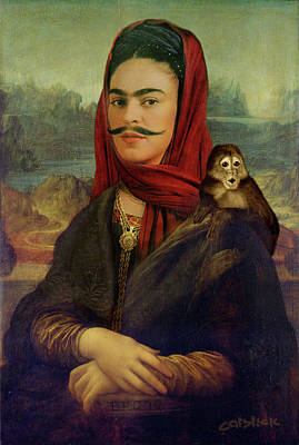 London Digital Art - Mona Frida - Surreal Pop Frida Kahlo Portrait - With Monkey by Big Fat Arts