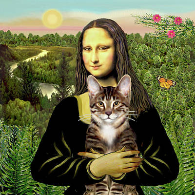 Painting - Mona Lisa And Her Tabby Tiger Cat by Jean Batzell Fitzgerald