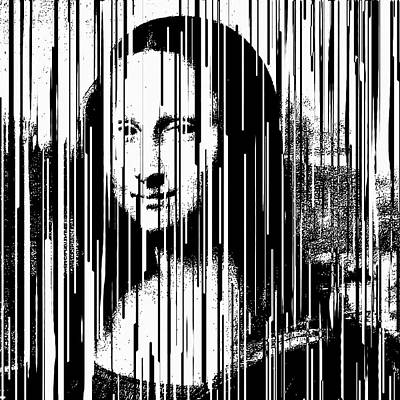 Painting - Mona Lisa Barcode Pop Art By Robert R  by Robert R Splashy Art Abstract Paintings