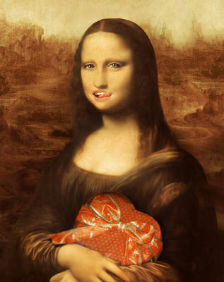 Candy Painting - Mona Lisa Likes Valentine Candy by Gravityx9 Designs