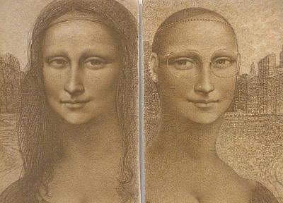 Mona Lisa Past And Present Art Print by Gary Kaemmer