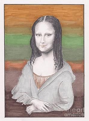 Hoodies Drawing - Mona Lisa, Redux, In Gray Hoodie -- Whimsical Redo Of The Mona Lisa by Jayne Somogy