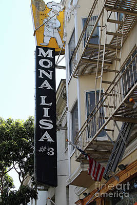 Photograph - Mona Lisa Restaurant North Beach San Francisco California 7d7450 by San Francisco