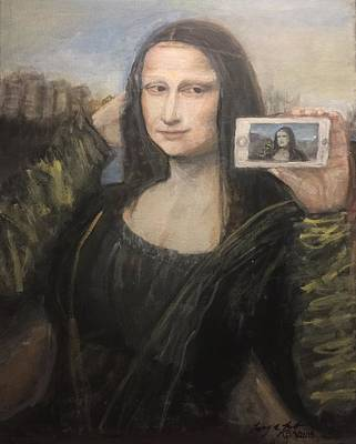 Painting - Mona Lisa Selfie by Larry Lamb