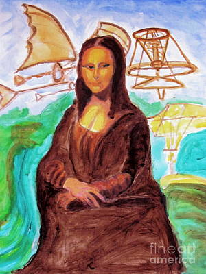 Painting - Mona Lisa Tribute To Leonardo Da Vinci  by Stanley Morganstein
