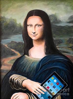 Mona Lisa With Ipad Art Print