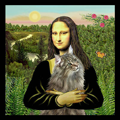 Digital Art - Mona Lisas Norwegian Forest Cat by Jean Batzell Fitzgerald