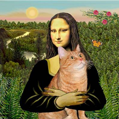 Digital Art - Mona Lisa's Orange Tabby by Jean Batzell Fitzgerald