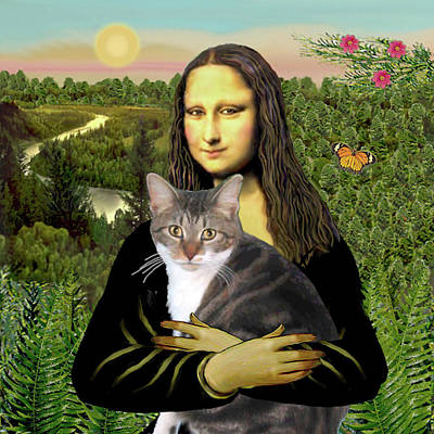 Digital Art - Mona Lisa's Tri Color Cat by Jean Batzell Fitzgerald