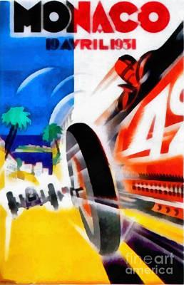 Formula One Digital Art - Monaco 1931 Car Race Poster by Edward Fielding